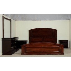 Hand Carved Rosewood Brown Timber Bedroom Set #809